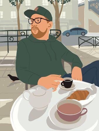 Homme à la barbe assis à table dans un café ou un café de la rue ensoleillée. Guy aime boire du café avec un croissant en plein air. Petit-déjeuner et tasse de thé en plein air. Heure d'été en illustration vectorielle de ville.