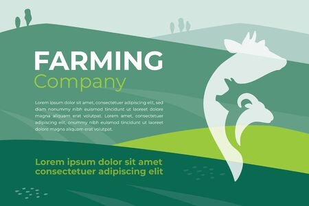 Design template for farming company, agriculture, livestock business. Banner with agricultural field and farm animals icon. Illustration