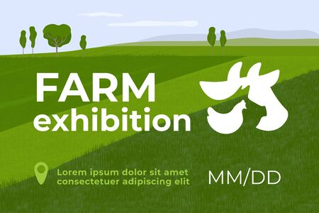 Design for farming exhibition. Banner for farm animals business, livestock company, conference or forum. Vector illustration with sign of cow, pig and chicken. Template for flyer, advert, banner, web