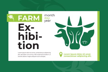 Banner with farm animals icon for exhibition. Design for agricultural fair, livestock business, conference or forum. Vector illustration with cow, pig and ram. Template for flyer, advert, web