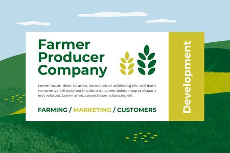 Banner for farmer producer company. Marketing and development of farm. Design for agriculture or livestock business. Vector illustration with agricultural field, text and sign of wheat for flyer, web Vettoriali