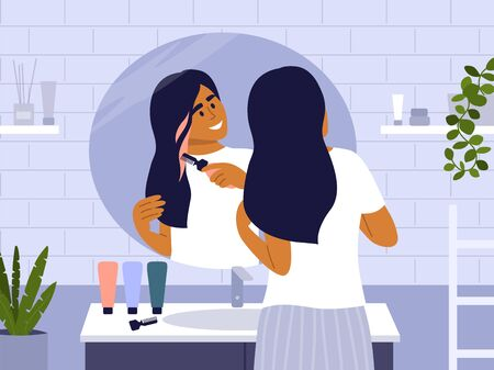 Young woman standing in front of bathroom mirror and dyeing her own hair. Cute girl making new hairstyle, painting strand of hair in pop colors. Beauty care at home vector illustration. Self isolation