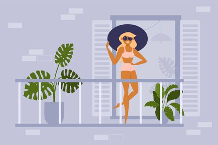 Young woman sunbathing on balcony of residential building. Girl in swimsuit, hat and glasses tans under sun on open terrace in apartment. Summer time 2020 at home. Self isolation vector illustration. Ilustração