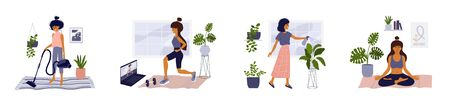 Set of lifestyle vector illustrations of home activities young woman in apartment. Girl doing housework, exercise workout, taking care for houseplants, relax in yoga pose. Isolated on white background Ilustração