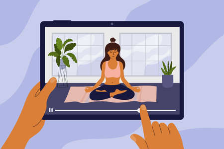 Online studying yoga class. Young woman meditating in lotus pose. Hands holding digital tablet with girl doing relaxation exercises. Workout, activity at home. Healthy lifestyle vector illustration. Ilustração