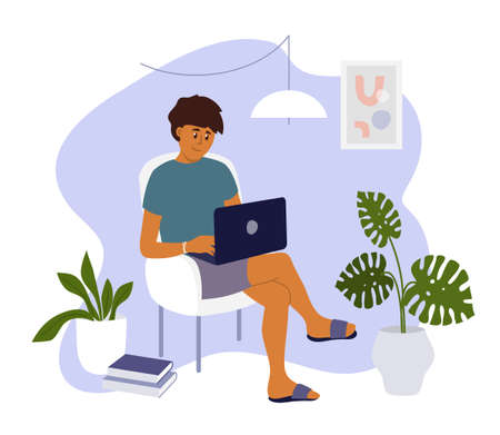 Young man working from home. Student sitting on armchair in room and studying using laptop. Online education, freelance work concept. Cozy workplace, office in apartment interior. Vector illustration