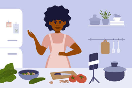 Black woman cooking on kitchen. Female blogger in apron preparing healthy food, making content by smartphone. Culinary video broadcast, channel or vlog with homemade meal recipe. Vector illustration.