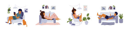 Set of lifestyle illustrations of reading people. Young man and woman hold book or digital tablet. Home library. Students study sitting or lying on sofa in apartment. Isolated vector. White background