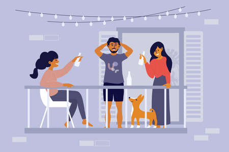 Friends hang out together on terrace. Young man and women having party on balcony of residential building. Social gathering. Drinking beverage in bottle. Weekend activities at home vector illustration Ilustração