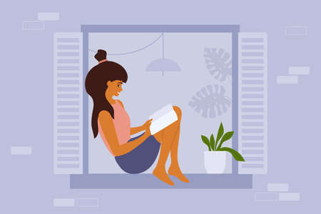 Reading girl sitting on window sill. Young woman relaxing at home with book. Student studying or preparing for exam. Facade of residential building. Education, leisure or resting vector illustration