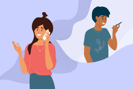 Friends make cell phone call. Young woman talking with man by smartphone. Conversation between girl and guy. People communication. Dialogue by mobile phone. Technology, distance vector illustration 免版税图像 - 151143845