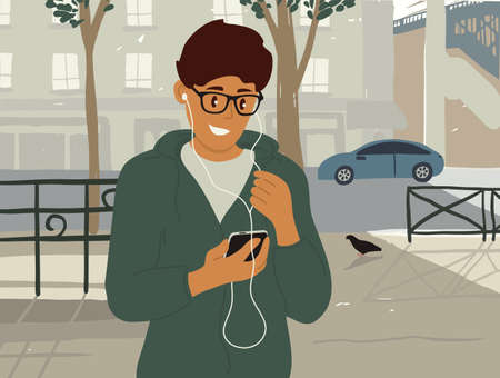 Young man in earphones makes online video call, browses internet on smartphone. Smiling guy walking along summer city street listening to music or podcast. Talking by mobile phone vector illustration Ilustração