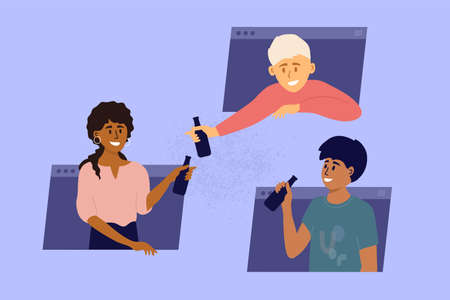 Multiethnic group of people hang out online by zoom, video call. Guys drink beverages from bottles. Friends talking through computer window frames. Party, birthday, virtual meeting vector illustration