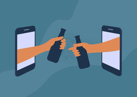Friends hangout online, drink beverages. Human hands hold bottles through smartphone screen. Mobile app, video call. Informal talking by internet. Party, birthday, virtual meeting vector illustration Illustration