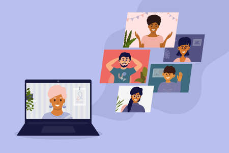 Diverse group of people talking online by video call. Virtual meeting or conference with friends or colleagues using laptop. Team work from home office. Internet connect technology vector illustration Ilustração