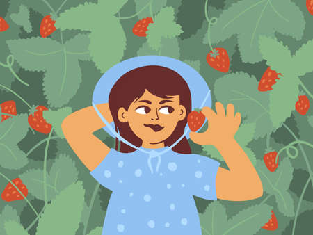 Smiling cute girl eating ripe strawberry. Young woman in blue dress holding red berry in hand. Enjoy of summer time in nature, garden activities. Little lady lying in green leaves vector illustration Banco de Imagens - 151143847