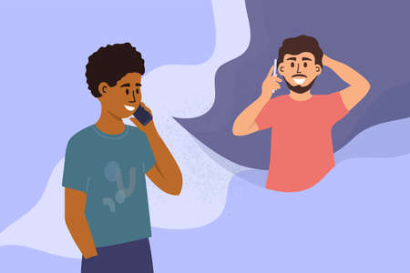 Two handsome men talking on mobile phone. Black guy calling friend by smartphone. People conversation. Male partners dialogue. Social distancing. Conversation of couple. Characters vector illustration Ilustração