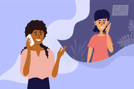 Couple of young women talking on mobile phone. Black girl calling friend by smartphone. People conversation. Female partners dialogue. Social distancing conversation. Characters vector illustration Ilustração