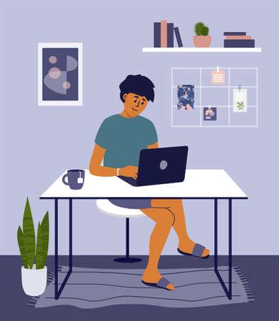 Young man working or studying from home using laptop. Student or freelancer sitting behind table. Online education, remote learning. Programmer workplace, home office in apartment. Vector illustration Ilustração
