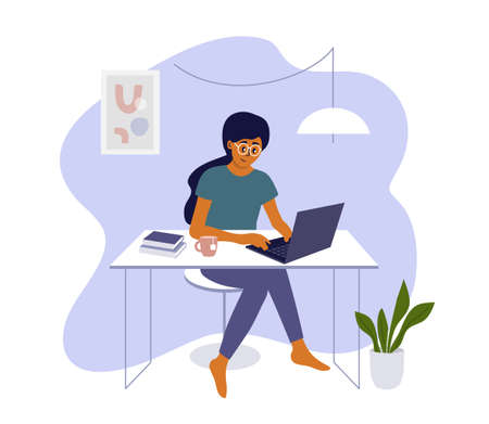 Young woman working or studying at home using laptop. Student girl or freelancer sitting behind table. Online education, remote learning. Cozy workplace, home office in apartment. Vector illustration