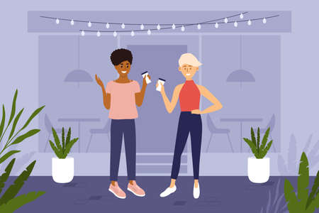 Two young women different ethnicities drink cup of coffee outside cafe house. People have small talk on street. City lifestyle, break of work, meeting friends. Daily morning ritual vector illustration