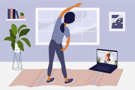 Young woman watching online classes on laptop, doing side bends, stretching at home. Video of sport exercise with instructor, fitness workout. Physical activity, healthy lifestyle vector illustration.