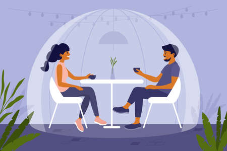 Young people sit at cafe under safety dome and drink coffee or tea. Couple have dinner together in isolation sphere. Social distancing in restaurant. Romantic date during pandemic vector illustration