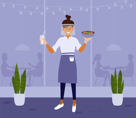 Young waitress in protective shield and gloves carries meal inside or outside cafe. Restaurant worker woman in face mask holding food and drink. People sit apart. Social distance vector illustration