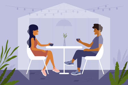 Young people sit at cafe inside safety glass cabin, drink coffee or tea. Couple have dinner together in isolation protective place. Social distancing in restaurant. Romantic date vector illustration