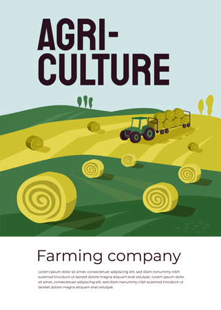 Vector illustration of agriculture with tractor, hayfield, haystack rolls in farm land. Machinery, farming industry poster. Harvest season in countryside, autumn rural landscape. Flyer, brochure, ad Ilustração