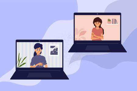 Psychotherapy online at home by laptop. Video call between psychologist and young woman. Sad girl talking to female doctor. Psychology internet session, health care, mental issue vector illustration