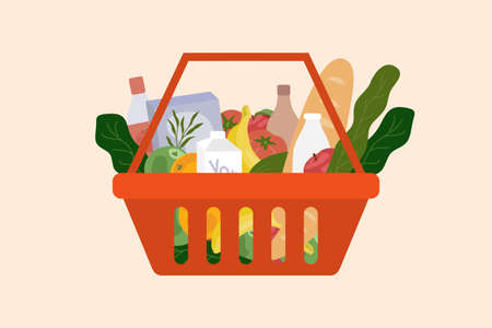 Red shopping basket full of produce. Living wage, subsistence level concept. Food and drink from supermarket or store. Groceries products and beverages. Healthy organic local foods vector illustration