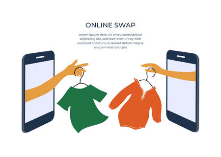 Online swap shop or party. Internet event of exchange old wardrobe for new. Two hands change clothes on hangers through smartphone screen. Mobile app for goods swap. Banner, flyer, vector illustration