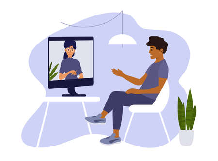Psychotherapy online session or video call. Sad man sitting on chair at home and talking to female psychologist on computer screen. Psychology internet consultation. Medical care vector illustration