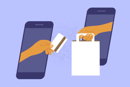 Online shopping or e-commerce concept. Human hands hold out purchase and card through smartphone screen. Payment by mobile phone. Contactless delivery order app. Internet commerce vector illustration