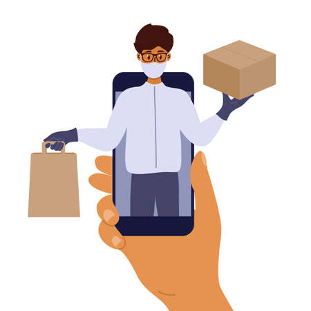 Contactless safe delivery service. Mobile app to order food or goods online. Man in protective face mask and gloves holding box and bag in hands. Delivery guy on smartphone screen. Vector illustration Ilustração