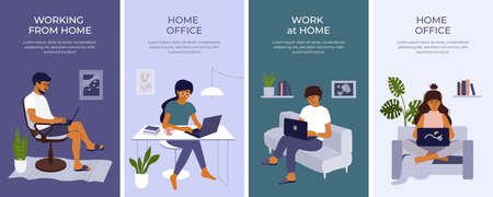 Set of banners with young woman and man working or studying at home using laptop. Student girl or freelancer sitting behind table. Cozy workplace on sofa, home office in apartment. Vector illustration Ilustração
