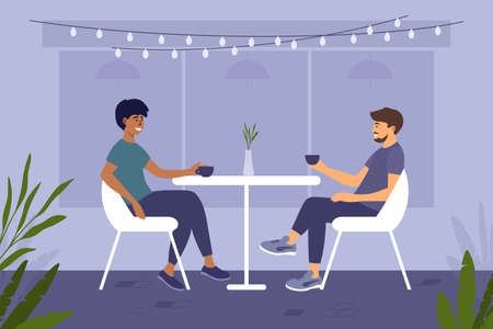 Two handsome men different ethnicities sit at cafe or restaurant and drink coffee. Couple guys spend time together. Meeting friends. Romantic date of partners. Leisure activities vector illustration