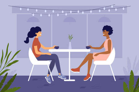 Two young women different ethnicities sit at cafe or restaurant and drink coffee. Couple girls spend time together. Meeting friends. Romantic date of partners. Leisure activities vector illustration.
