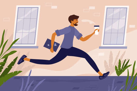 Young man with coffee cup and laptop in hand runs down the street to work. Worker racing to office. Job seeker hurrying up to interview. Freelancer or programmer. Hipster lifestyle vector illustration