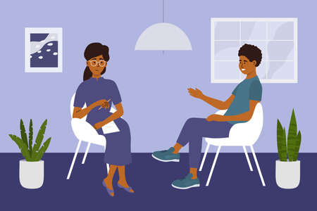 Psychological help concept. Psychotherapy session, mental problem or masculine depression treatment. Vector illustration of sad man talking to female psychologist. Male anxiety, stress, health care. Ilustração
