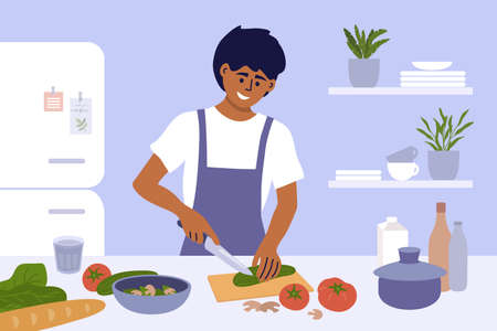 Young man cook healthy food at home. Smiling guy in apron preparing homemade meals in small kitchen. Father cooking dinner cutting ingredients for vegetable salad. Junior chef work vector illustration Ilustração
