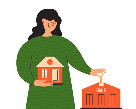 Young woman with new own house in hand pays mortgage payment to bank. Happy property owner. Girl with coin investing money to buy home and increase living rate. House loan concept. Vector illustration