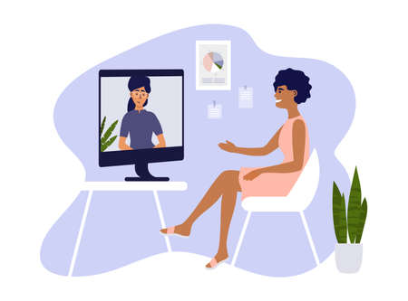 Video call, networking or conference with business partner. Online course, studying or education. Hiring, job interview, employment. Women talk by computer. Home office, work place vector illustration Ilustração