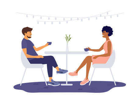 Young man and woman different ethnicities sit at cafe, drink coffee. Romantic date of partners. Couple spend time in restaurant. Meeting friends. Leisure activities of girl and guy vector illustration Ilustração