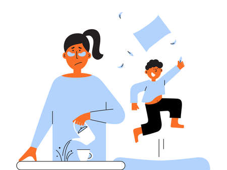 Frustrated parent concept. Exhausted mom pours coffee past cup. Naughty child plays noisily and jumps. Tired mother and hyperactive son. Difficult parenting vector illustration. Sad woman, depression.