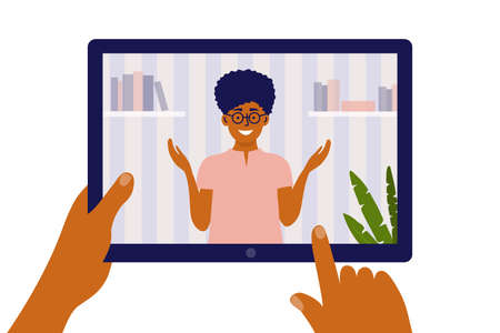 Distance education, e-learning and online video courses concept. Hands hold digital tablet with talking female teacher. Student studying remotely. Webinar, internet lesson class vector illustration.