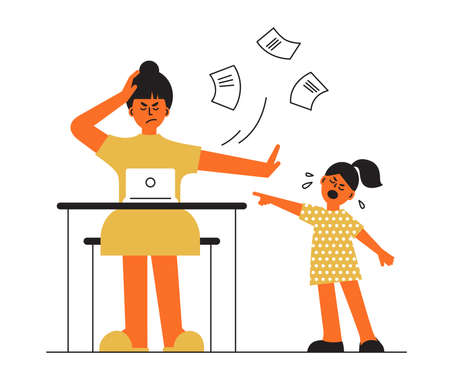 Frustrated parent concept. Tired mother trying work at home. Little daughter crying requiring laptop. Busy freelancer mom, capricious baby girl. Child and job. Difficult motherhood vector illustration