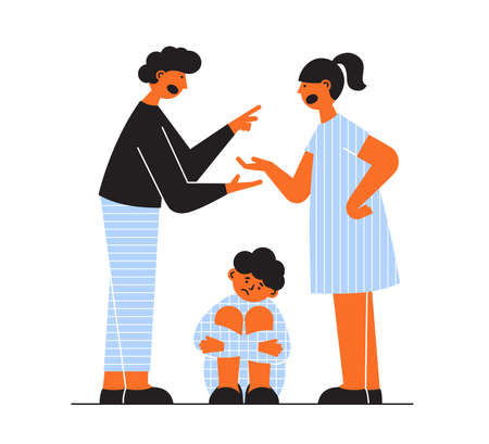 Father and mother swearing at home, kid worrying sitting on floor. Family conflict concept. Sad child. Quarrel of husband and wife. Parental divorce vector illustration. Difficult problem relationship
