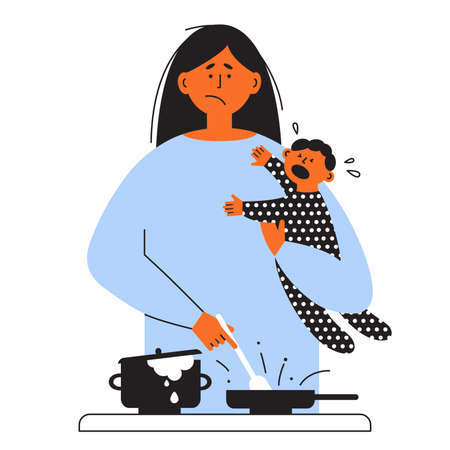 Frustrated parent concept. Exhausted mom holding crying kid and cooking food on stove. Tired mother with little baby on hands. Motherhood problems, postpartum depression. Sad woman vector illustration